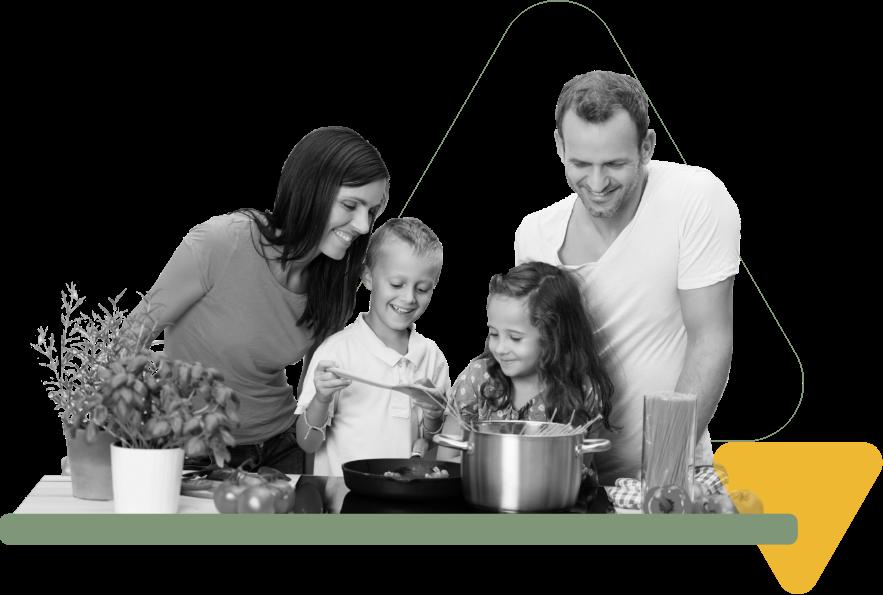 Family making pasta
