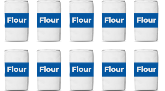 10 Bags of traditional refined wheat flour